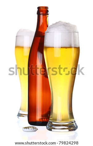 Two glasses of beer and bottle