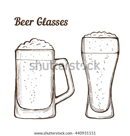 Two glasses of beer, hand-drawing.