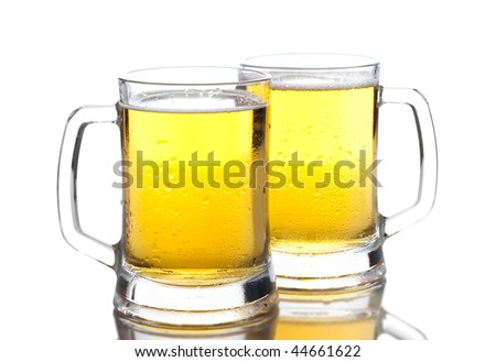 two glasses of beer with reflection