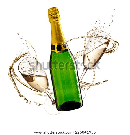 Two glasses of champagne and bottle with splash, isolated on white background - stock photo