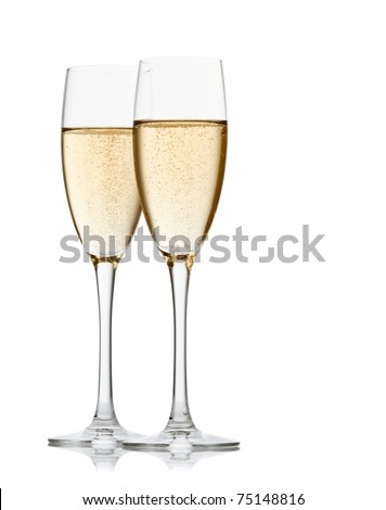 Two glasses of champagne. Isolated on white backgroun