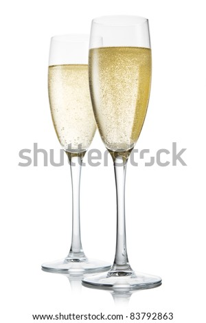 Two glasses of champagne. Isolated on white backgroun - stock photo
