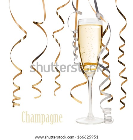 Two glasses of champagne isolated on white background  - stock photo