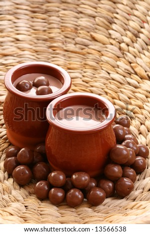 two glasses of chocolate cream - delicious dessert
