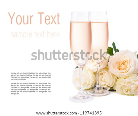 Two glasses of cold champagne and a bouquet of beige roses on a white background, isolated, ready template - stock photo