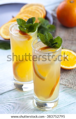 Two glasses of detox cocktail with orange, mint and ice cubes on wooden table. Drink for diet. Focus on mint.