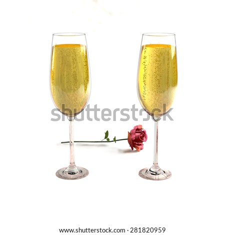 Two glasses of good champagne and a rose on a white background which symbolizes love. - stock photo