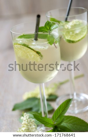 two glasses of hugo cocktail - stock photo