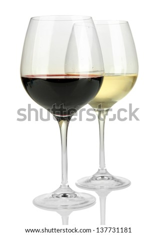 Two glasses of  red and white wine, isolated on white - stock photo