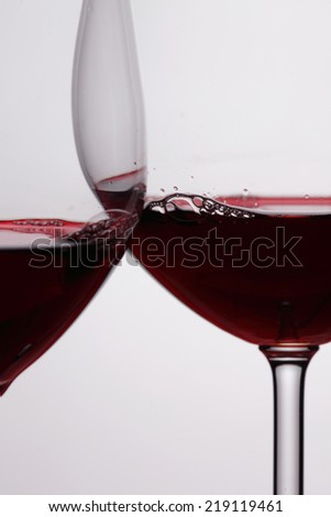 Two glasses of red wine isolated on white background