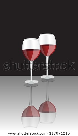 two glasses of red wine on a black background and a shiny surface