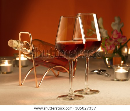 Two glasses of rose wine - stock photo