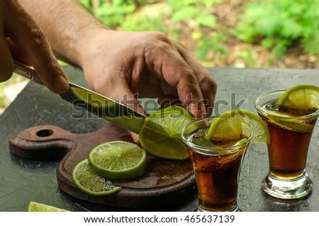 Two Glasses Whiskey Soda Lime Dark Stock Photo 465637145 ...