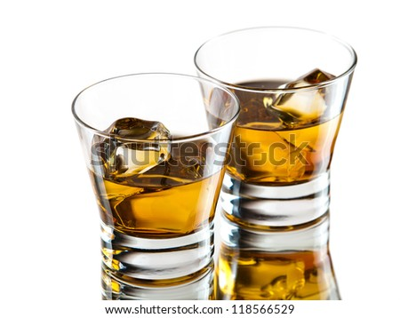 Two glasses of whiskey on the rocks
