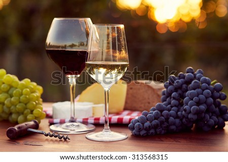 Two glasses of white and red wine with food at sunset, toned - stock photo