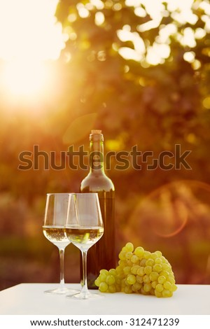 Two glasses of white wine at sunset, toned