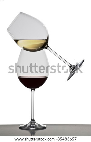 Two glasses of wine - stock photo