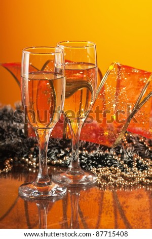 two glasses of wine and Christmas decoration