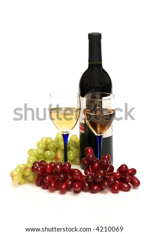 Two glasses of wine, bottle and grapes isolated  on white - stock photo