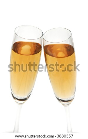 Two glasses of wine isolated on white - stock photo