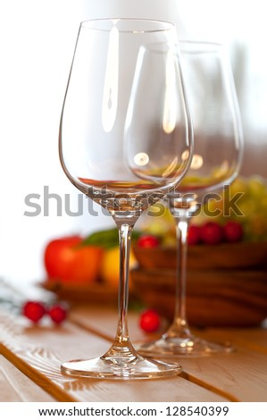 two glasses of wine on the table - stock photo