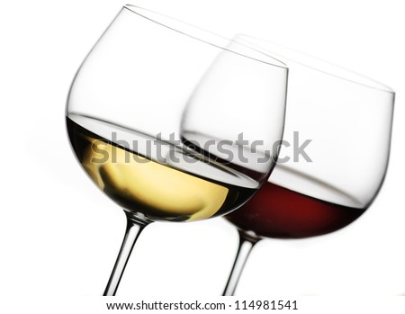 Two glasses of wine on white background