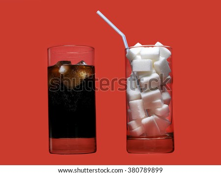 two glasses one with cola refreshing drink another full of sugar cubes and straw representing the big amount of calories content in the soda in unhealthy nutrition concept isolated on red background - stock photo