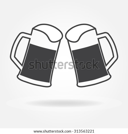 Two glasses or beer mugs on white background. Cheers icon or sign.  - stock photo