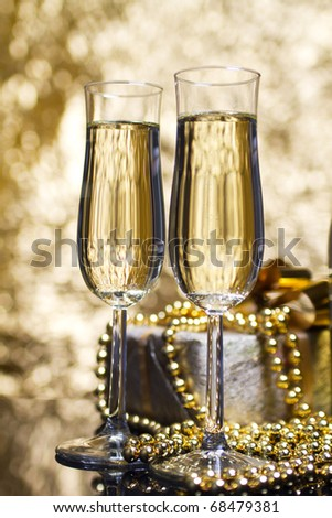 Two glasses valentine champagne - stock photo