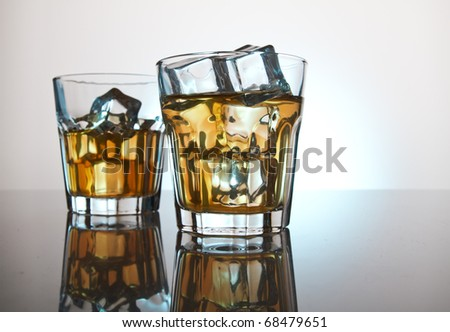 Two glasses whisky - stock photo