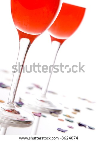 two glasses with a drink, isolated on a white background