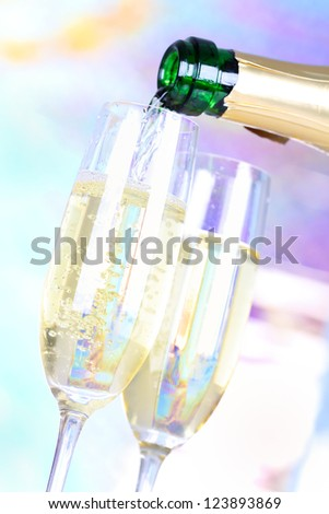 Two glasses with champagne - stock photo