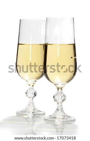 Two glasses with champagne, isolated, over white