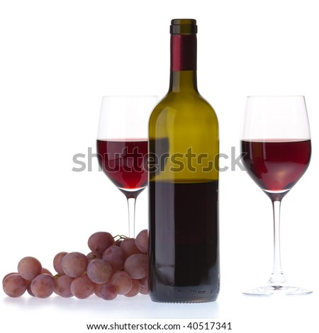 Two glasses with dark red wine on a white background. Isolated on white background.
