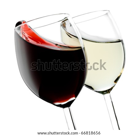 Two glasses with red and white splashed wines