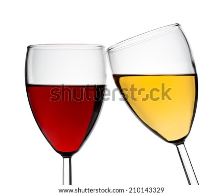 Two glasses with red and white wine on a white background, isolated