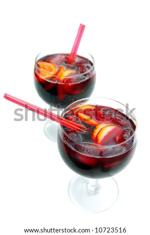 two glasses with spanish sangria to enjoy summer - stock photo