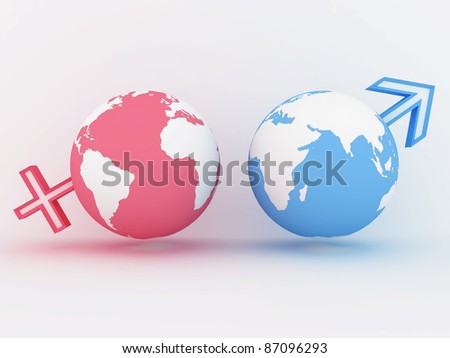 Two globe with male and female sign. 3D image - stock photo