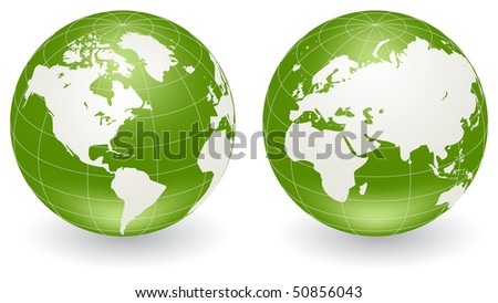 Two globes of Earth, isolated on a white