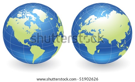 Two globes of Earth with green lands, isolated on a white.