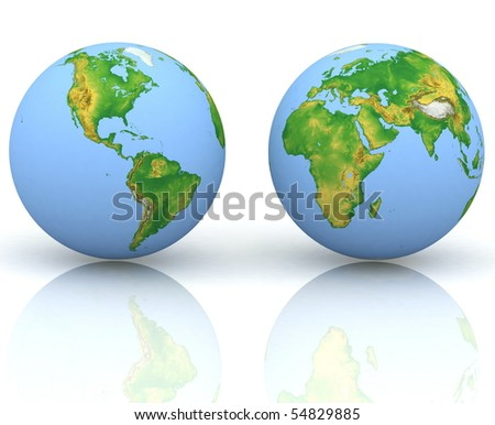 Two globes on a white background - stock photo