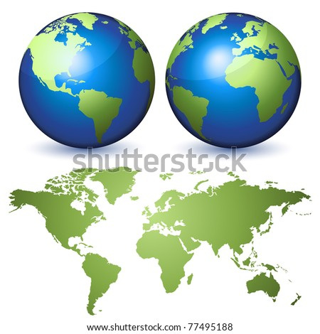 Two globes representing the Earth and a planisphere - stock photo