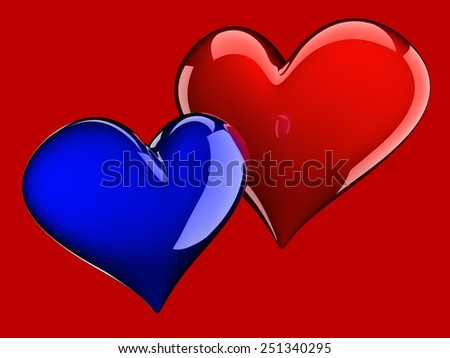 two glossy hearts isolated on red - stock photo