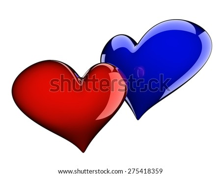 two glossy hearts isolated on white - stock photo