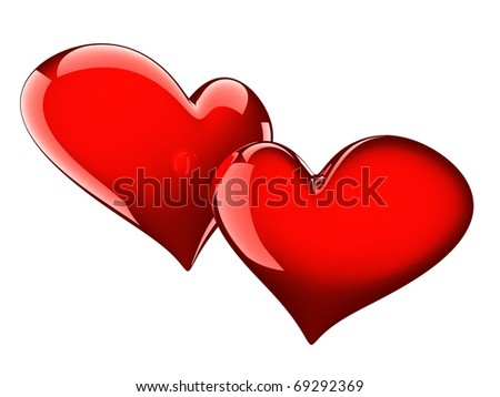 two glossy red hearts isolated on white - stock photo