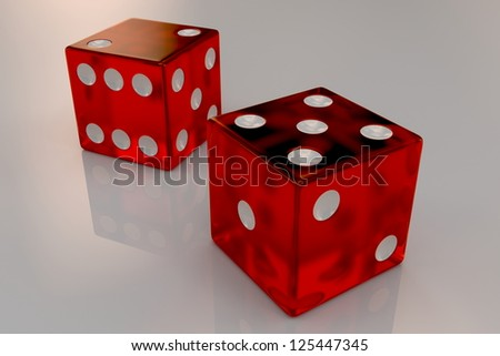 Two glossy red plastic bouncing dices showing numbers five and two, closeup - stock photo