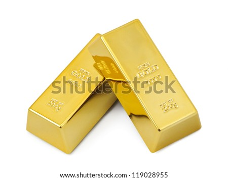 Two gold bars. - stock photo