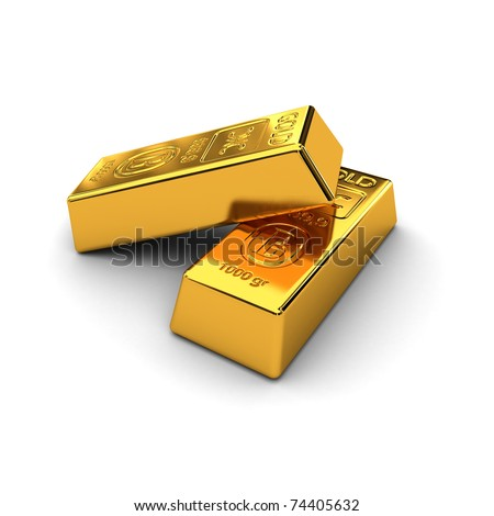 Two gold bars over white background - stock photo