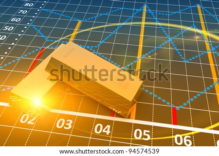 Two gold bars with a linear chart - stock photo