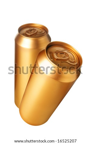 Two gold beer cans isolated over white background - stock photo